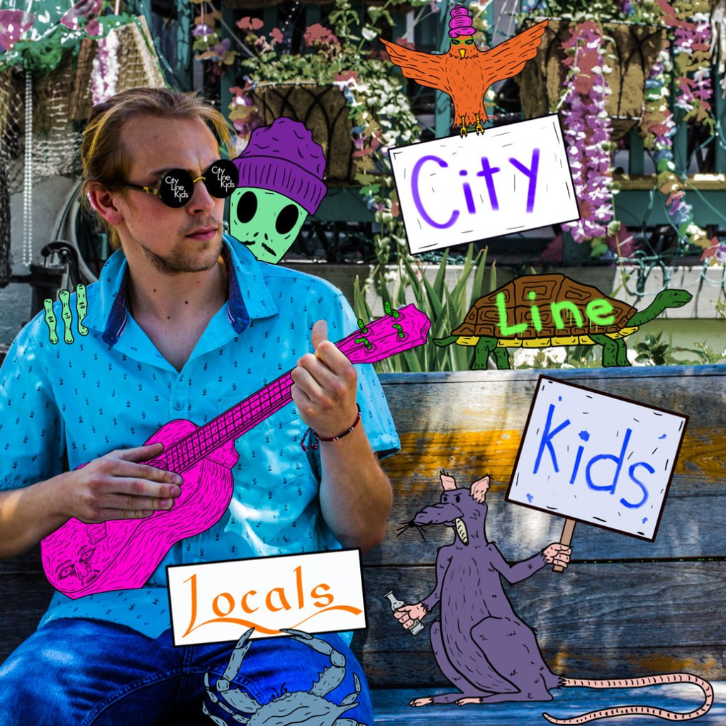 A person playing ukulele on a bench with a drawn alien, rat, turtle, crab, and oriole with a beehive hairdo.