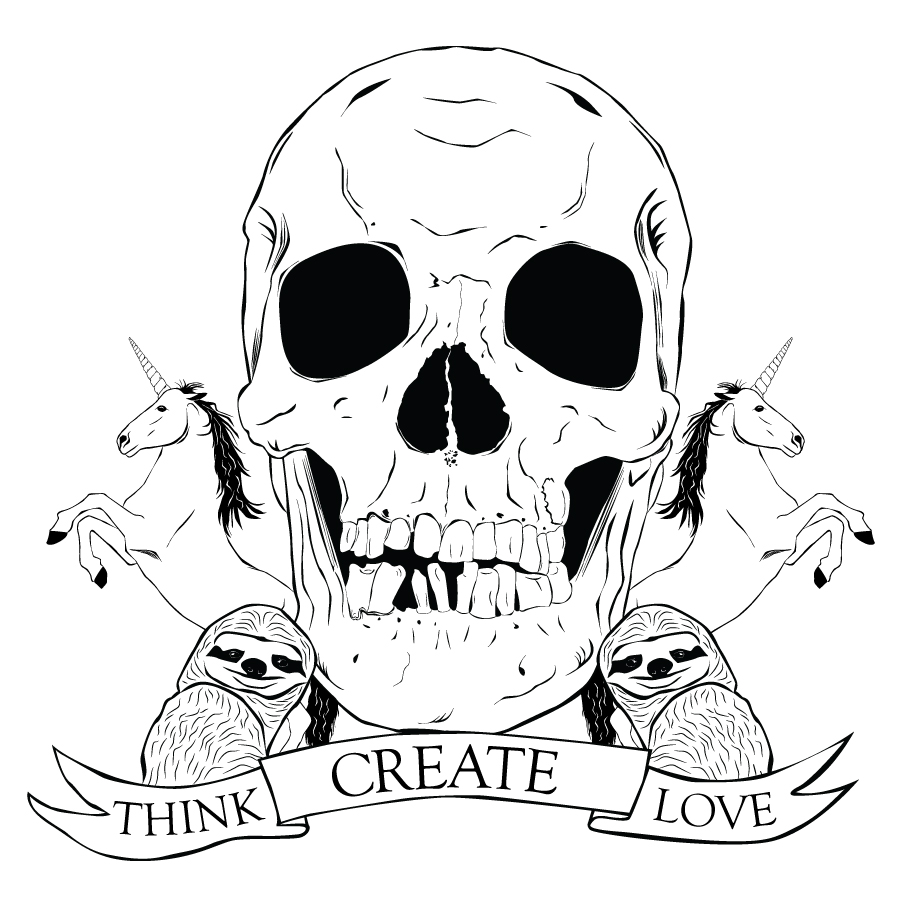 """A family crest that has a skull in the center flanked by unicorns and sloths. A banner underneath reads, """"Think, Create, Love."""""""