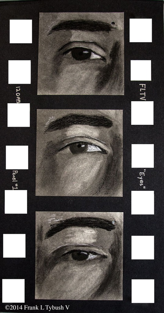 An oversized filmstrip with three charcoal drawings of a blinking eye.