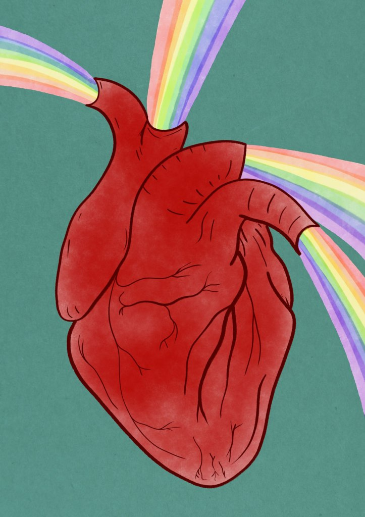 A heart with rainbows coming out of its arteries.