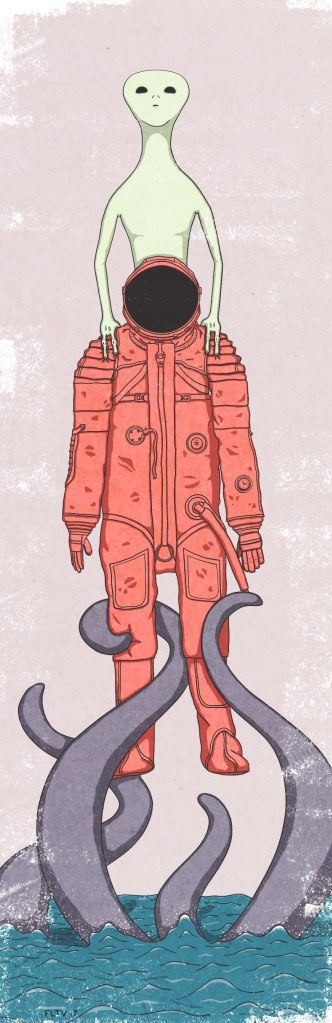 An alien pulling up on a cosmonaut while tentacles pull it down into the ocean.